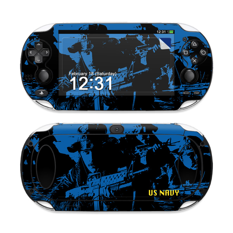 PlayStation Vita Skin design of Water, Vehicle, Boat, Recreation, Reflection, Watercraft with black, blue colors