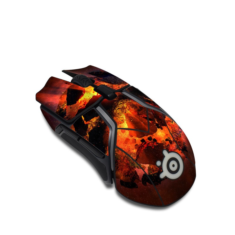 SteelSeries Rival 600 Gaming Mouse Skin design of Flame, Heat, Fire, Space, Atmosphere, Charcoal, Explosion, Geological phenomenon, Ash, Graphics with black, red colors
