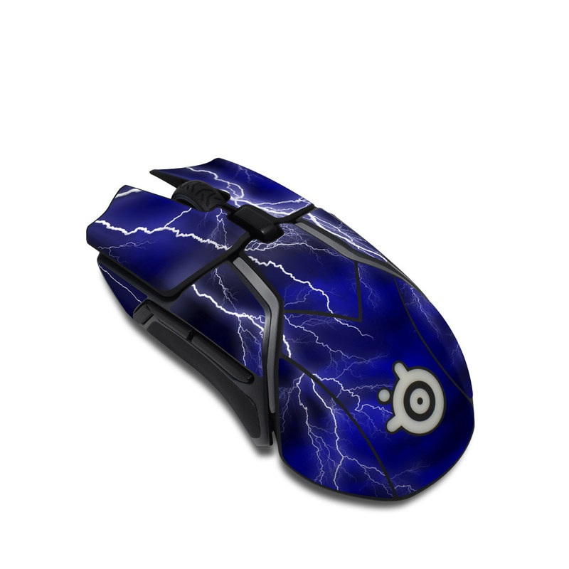 SteelSeries Rival 600 Gaming Mouse Skin design of Thunder, Lightning, Thunderstorm, Sky, Nature, Electric blue, Atmosphere, Daytime, Blue, Atmospheric phenomenon with blue, black, white colors