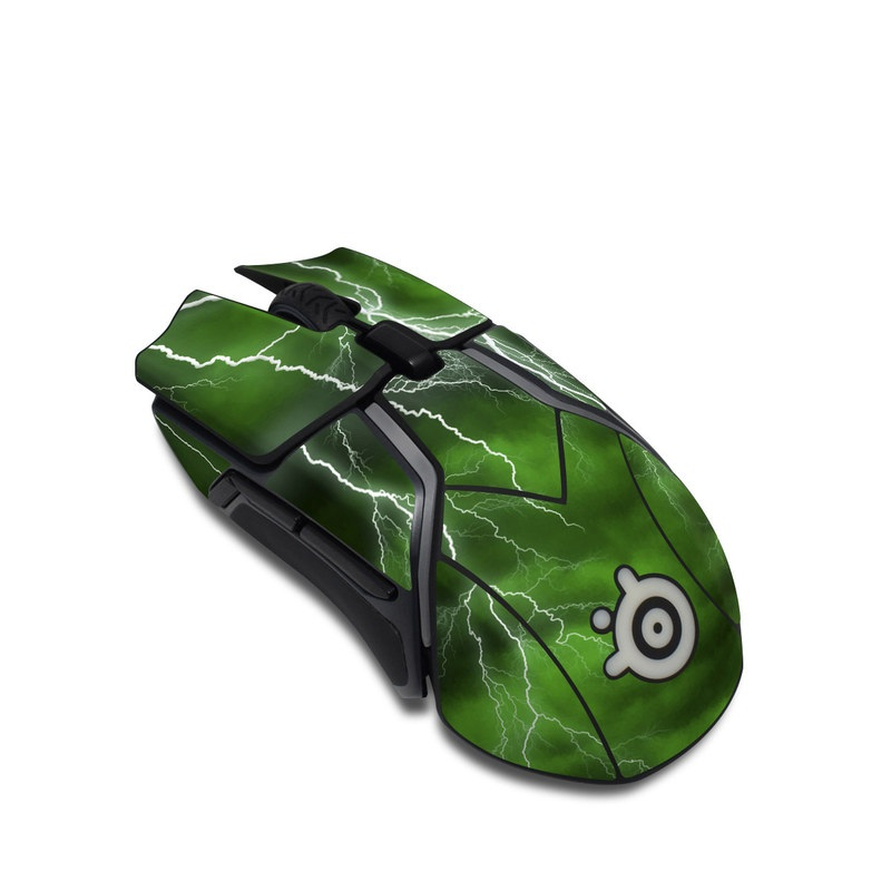 SteelSeries Rival 600 Gaming Mouse Skin design of Thunderstorm, Thunder, Lightning, Nature, Green, Water, Sky, Atmosphere, Atmospheric phenomenon, Daytime with green, black, white colors