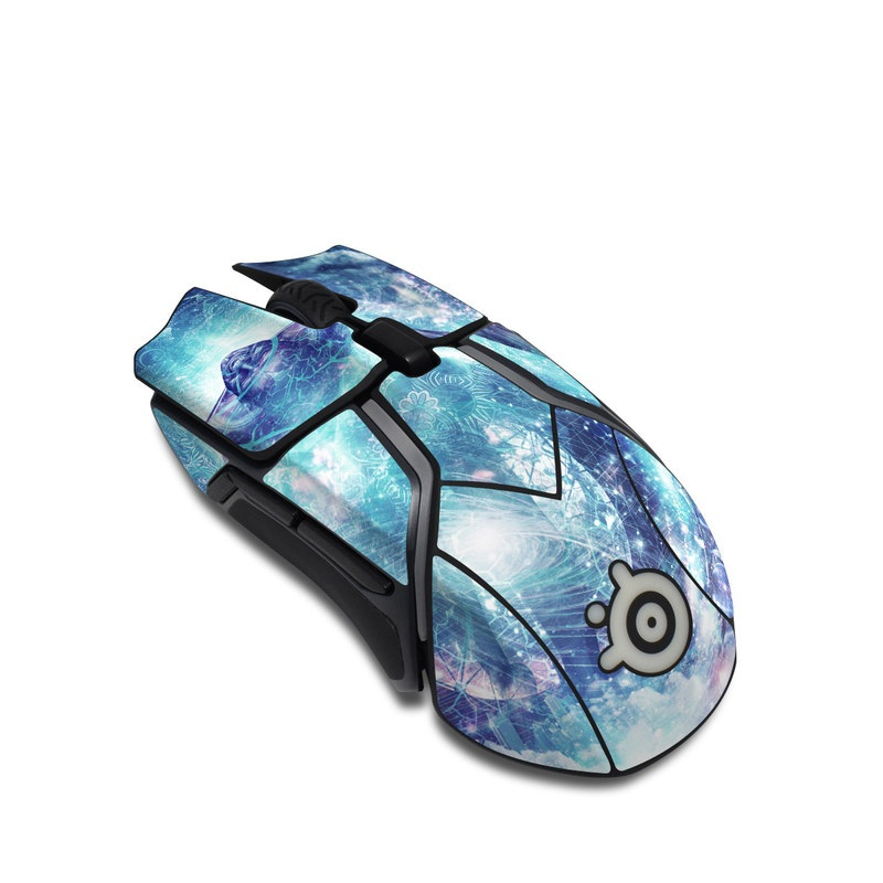 SteelSeries Rival 600 Gaming Mouse Skin design of Outer space, Astronomical object, Universe, Space, Sky, Atmosphere, Fractal art, Nebula, Science, Star with blue, black, red, yellow, white colors