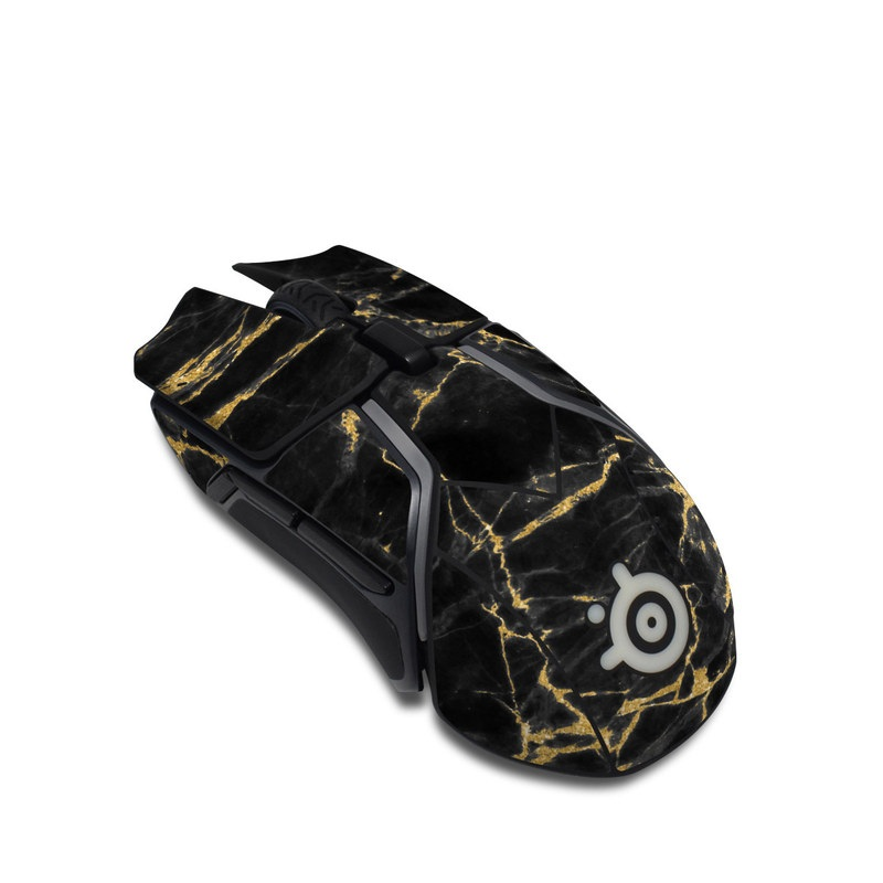 SteelSeries Rival 600 Gaming Mouse Skin design of Black, Yellow, Water, Brown, Branch, Leaf, Rock, Tree, Marble, Sky with black, yellow colors