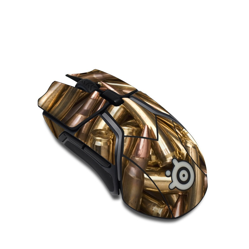 SteelSeries Rival 600 Gaming Mouse Skin design of Ammunition, Metal, Bullet, Brass, Gun accessory, Steel with brown, yellow colors