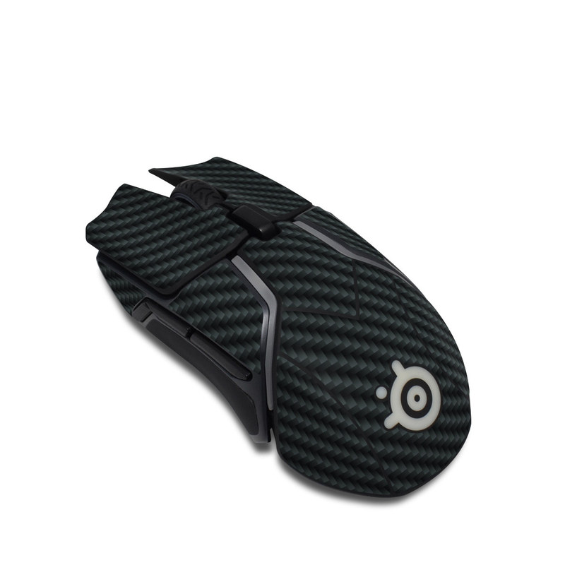 SteelSeries Rival 600 Gaming Mouse Skin design of Green, Black, Blue, Pattern, Turquoise, Carbon, Textile, Metal, Mesh, Woven fabric with black colors