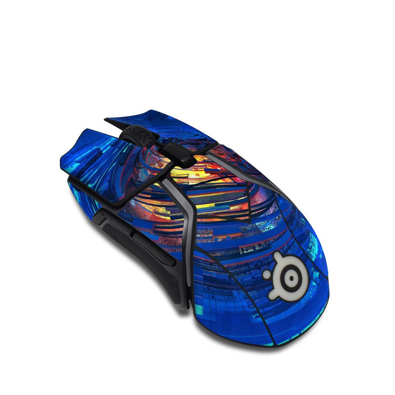 SteelSeries Rival 600 Gaming Mouse Skin design of Blue, Water, Circle, Vortex, Electric blue, Wave, Liquid, Graphics, Pattern, Colorfulness with blue, orange, yellow colors