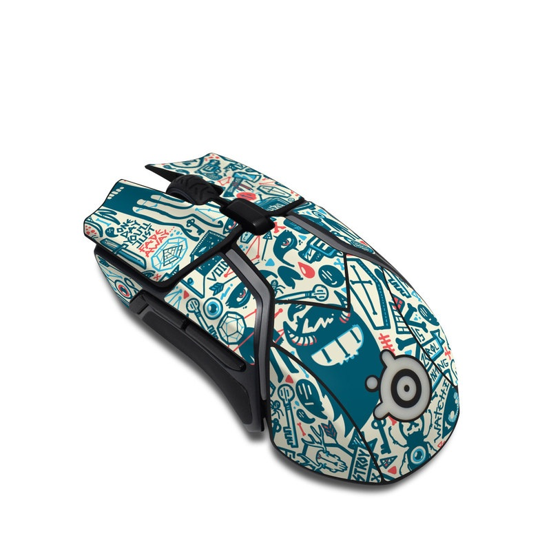 SteelSeries Rival 600 Gaming Mouse Skin design of Pattern, Psychedelic art, Turquoise, Art, Design, Visual arts, Line, Drawing, Doodle, Graphic design with white, green, blue, red colors