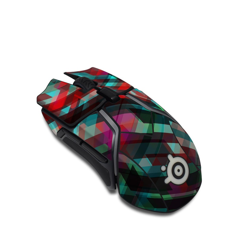 SteelSeries Rival 600 Gaming Mouse Skin design of Green, Pattern, Magenta, Purple, Orange, Line, Design, Textile, Plaid with black, red, green, blue, gray colors