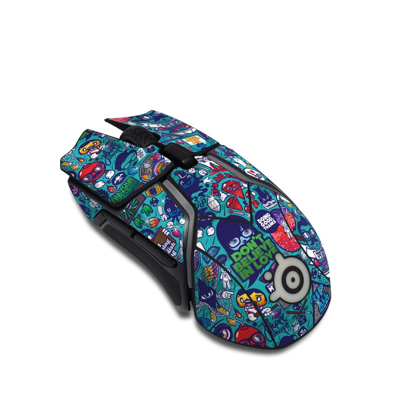SteelSeries Rival 600 Gaming Mouse Skin design of Art, Visual arts, Illustration, Graphic design, Psychedelic art with blue, black, gray, red, green colors
