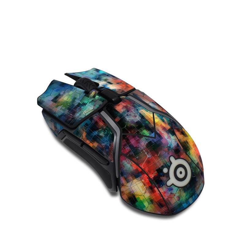 SteelSeries Rival 600 Gaming Mouse Skin design of Blue, Colorfulness, Pattern, Psychedelic art, Art, Sky, Design, Textile, Dye, Modern art with black, blue, red, gray, green colors