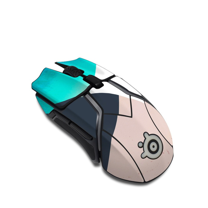 SteelSeries Rival 600 Gaming Mouse Skin design of Blue, Turquoise, Aqua, Line, Triangle, Design, Material property, Graphic design, Pattern, Architecture with black, white, brown, blue colors
