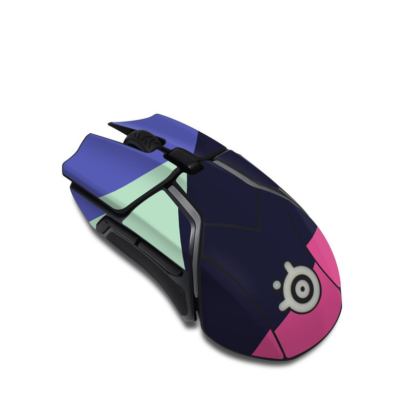 SteelSeries Rival 600 Gaming Mouse Skin design of Purple, Violet, Line, Magenta, Graphic design, Triangle, Pattern, Design, Material property, Font with black, blue, green, pink colors