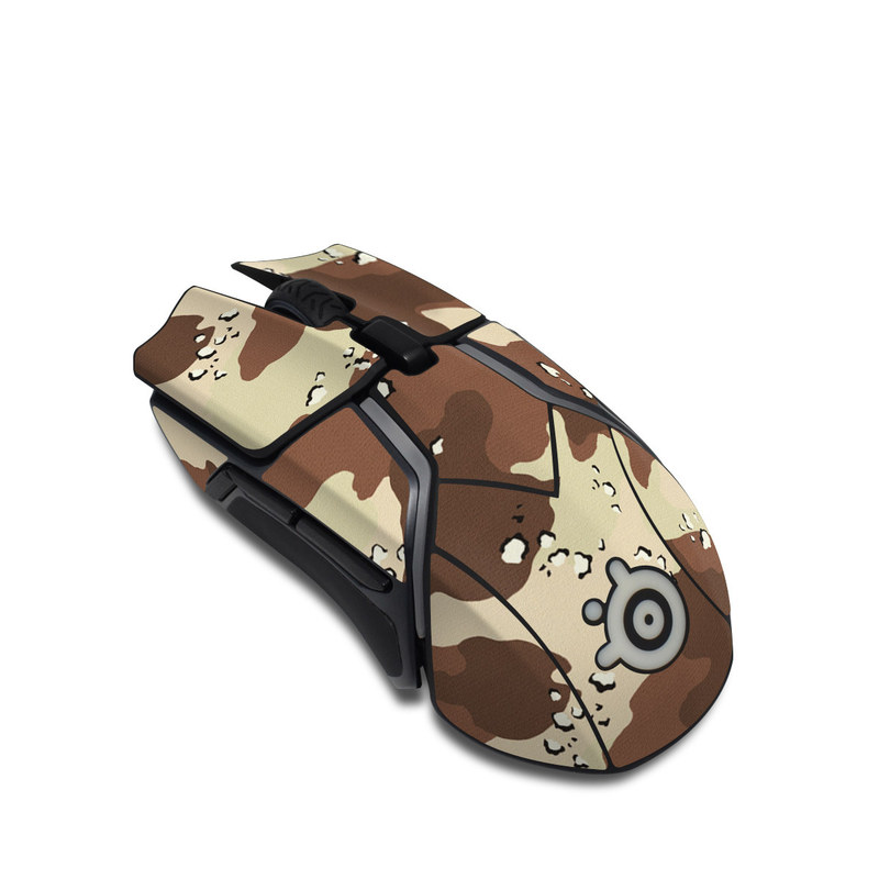 SteelSeries Rival 600 Gaming Mouse Skin design of Military camouflage, Brown, Pattern, Design, Camouflage, Textile, Beige, Illustration, Uniform, Metal with gray, red, black, green colors