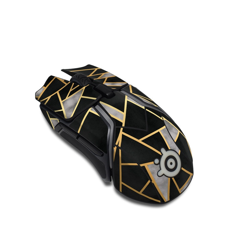 SteelSeries Rival 600 Gaming Mouse Skin design of Pattern, Triangle, Yellow, Line, Tile, Floor, Design, Symmetry, Architecture, Flooring with black, gray, yellow colors