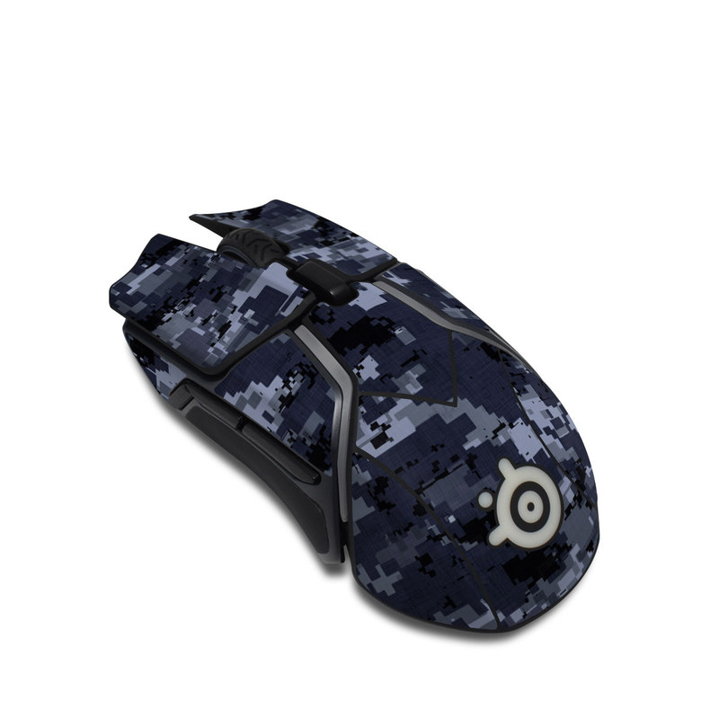 SteelSeries Rival 600 Gaming Mouse Skin design of Military camouflage, Black, Pattern, Blue, Camouflage, Design, Uniform, Textile, Black-and-white, Space with black, gray, blue colors