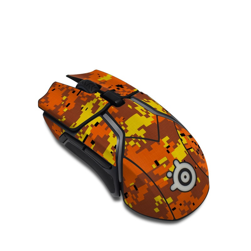 SteelSeries Rival 600 Gaming Mouse Skin design of Orange, Yellow, Leaf, Tree, Pattern, Autumn, Plant, Deciduous with red, green, black colors