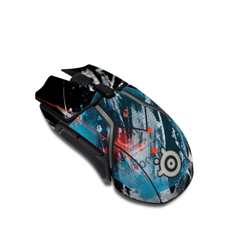 SteelSeries Rival 600 Gaming Mouse Skin design of Graphic design, Illustration, Graphics, Design, Art, Space, World with black, gray, blue, red colors