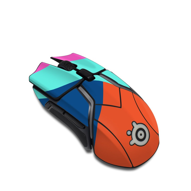 SteelSeries Rival 600 Gaming Mouse Skin design of Blue, Colorfulness, Turquoise, Line, Azure, Triangle, Pattern, Graphic design, Magenta with blue, pink, orange, red colors