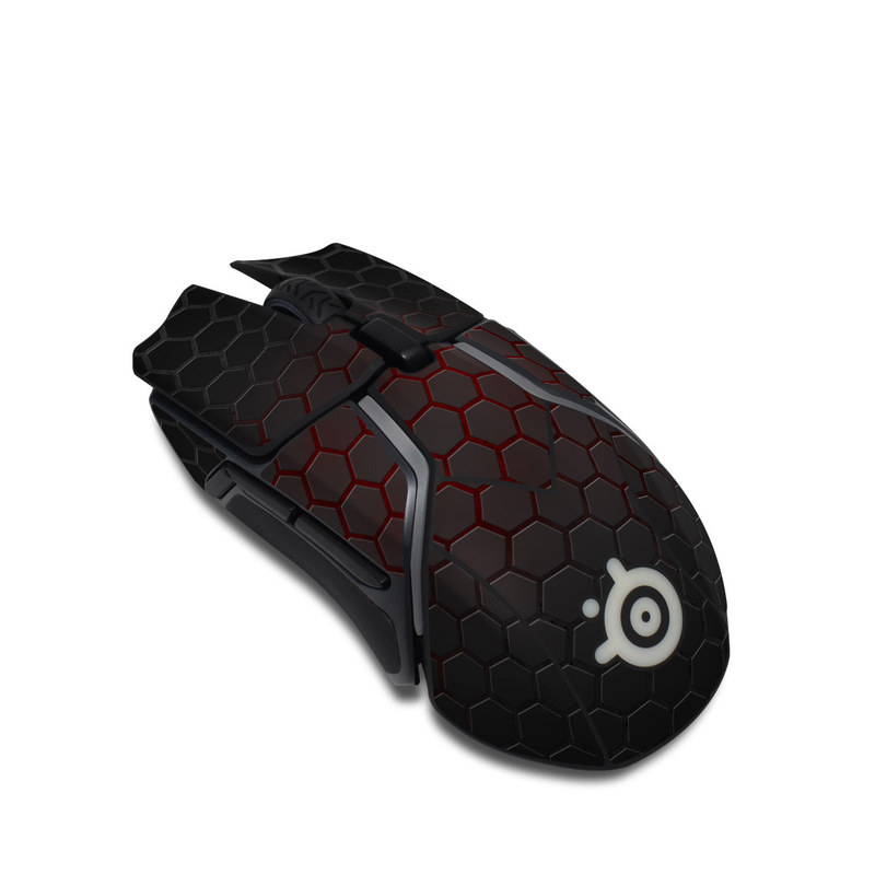SteelSeries Rival 600 Gaming Mouse Skin design with black, gray, red colors