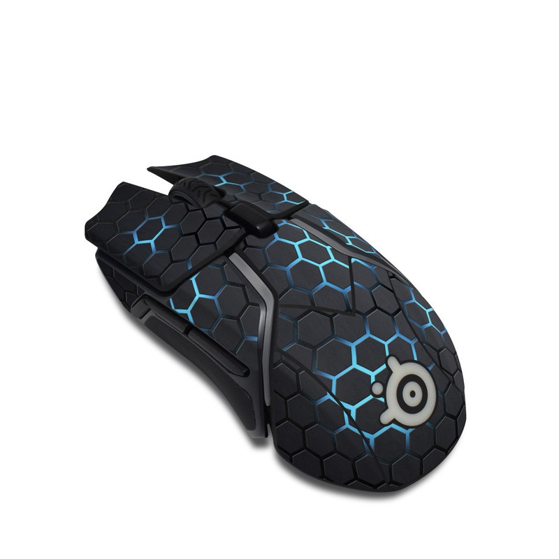 SteelSeries Rival 600 Gaming Mouse Skin design with black, gray, blue colors