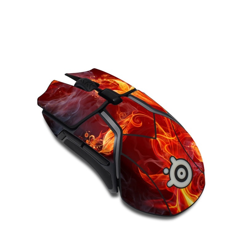 SteelSeries Rival 600 Gaming Mouse Skin design of Flame, Fire, Heat, Red, Orange, Fractal art, Graphic design, Geological phenomenon, Design, Organism with black, red, orange colors