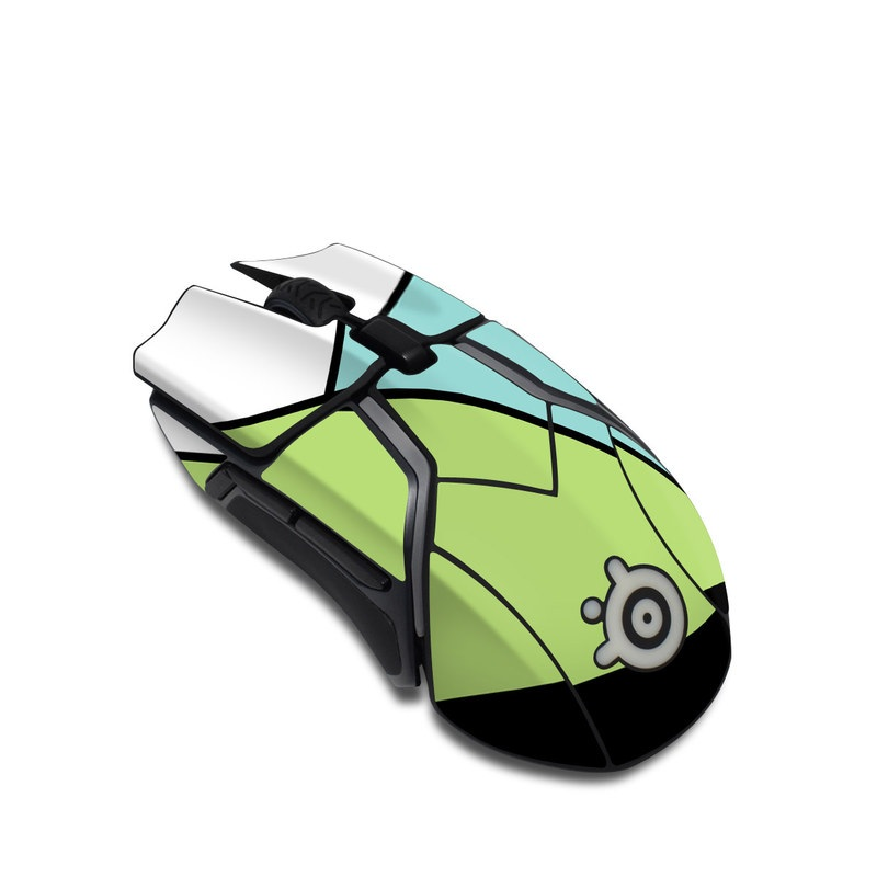 SteelSeries Rival 600 Gaming Mouse Skin design of Green, Line, Blue, Triangle, Design, Parallel, Pattern, Graphic design, Slope with white, black, green, blue colors