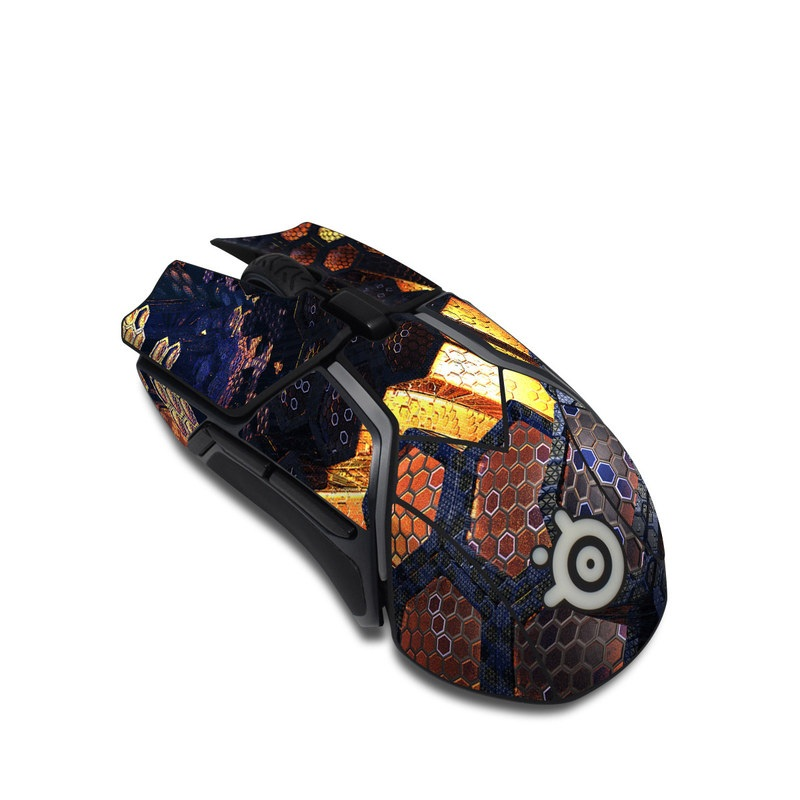 SteelSeries Rival 600 Gaming Mouse Skin design of Geological phenomenon, Sky, Water, Cobblestone, Rock, Reflection, Colorfulness, World, Art with black, red, green colors