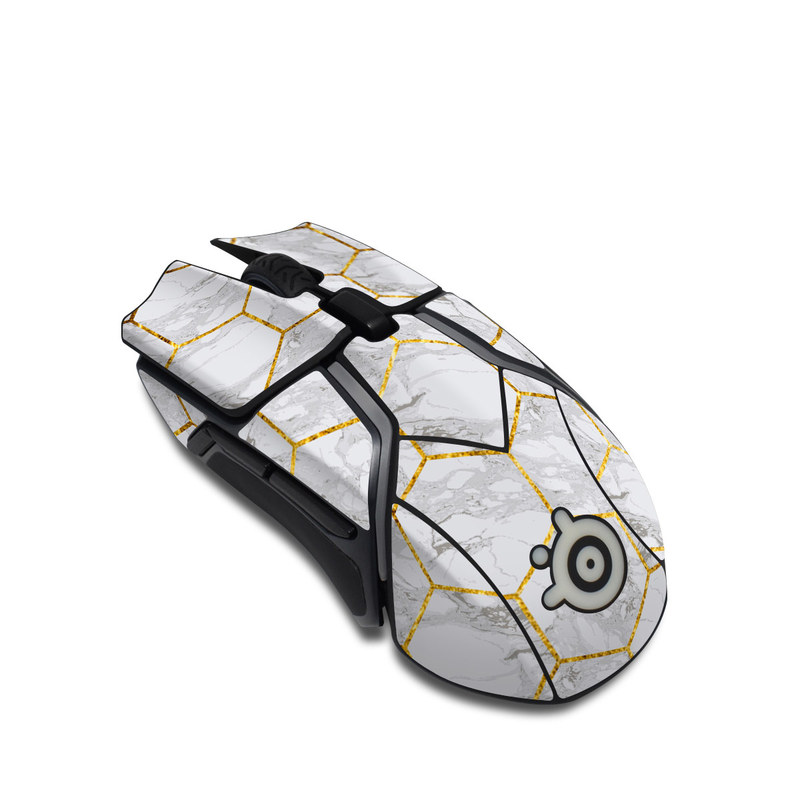 SteelSeries Rival 600 Gaming Mouse Skin design of Pattern, Tile flooring, Line, Tile, Design, Flooring, Floor with white, black, brown colors
