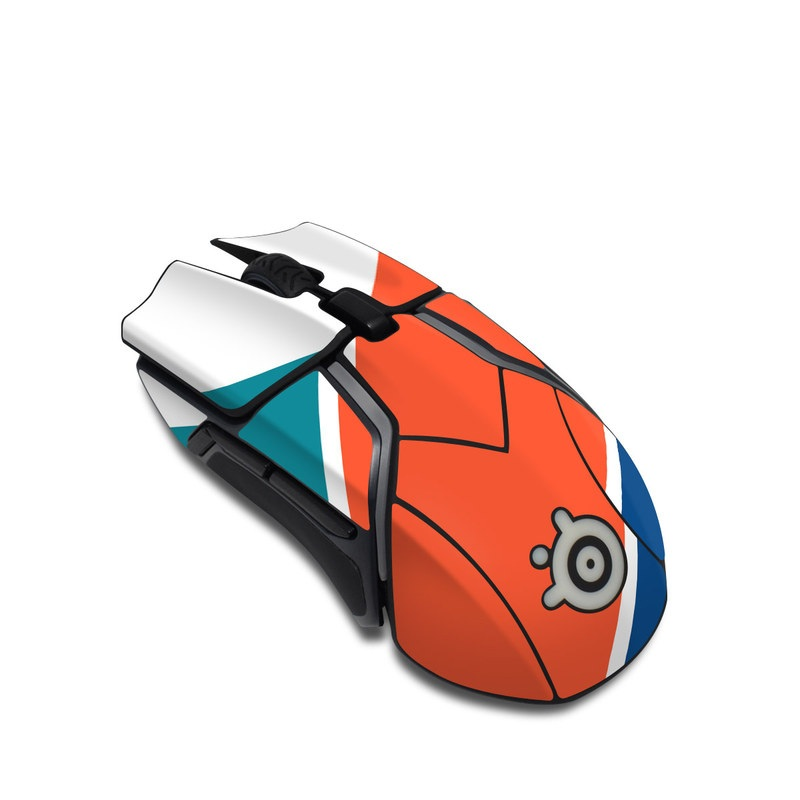SteelSeries Rival 600 Gaming Mouse Skin design of Blue, Orange, Line, Turquoise, Flag, Electric blue, Pattern, Parallel with white, blue, red, orange, green colors