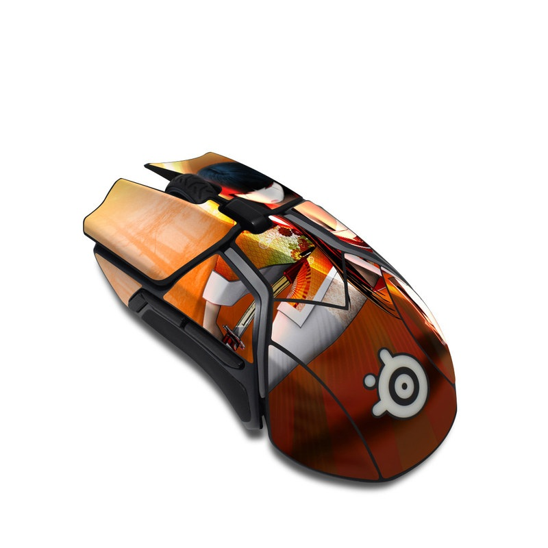 SteelSeries Rival 600 Gaming Mouse Skin design of Cartoon, Anime, Orange, Animation, Cg artwork, Kung fu, Illustration with red, yellow, orange, white colors