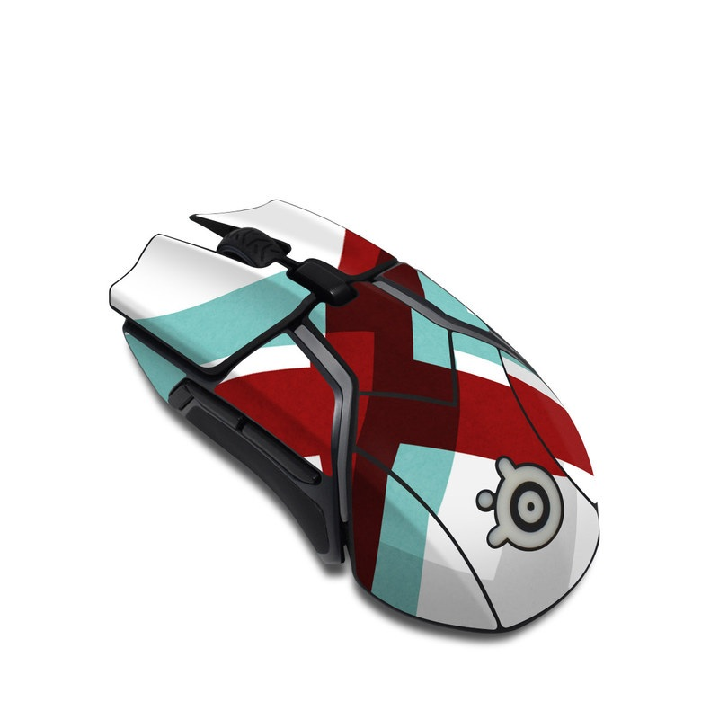 SteelSeries Rival 600 Gaming Mouse Skin design of Turquoise, Line, Pattern, Teal, Graphic design, Design, Flag, Font, Graphics, Parallel with red, blue, gray, white colors
