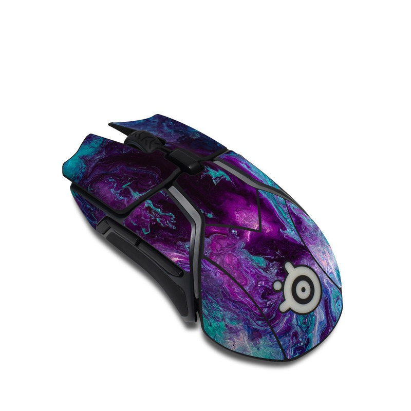SteelSeries Rival 600 Gaming Mouse Skin design of Blue, Purple, Violet, Water, Turquoise, Aqua, Pink, Magenta, Teal, Electric blue with blue, purple, black colors