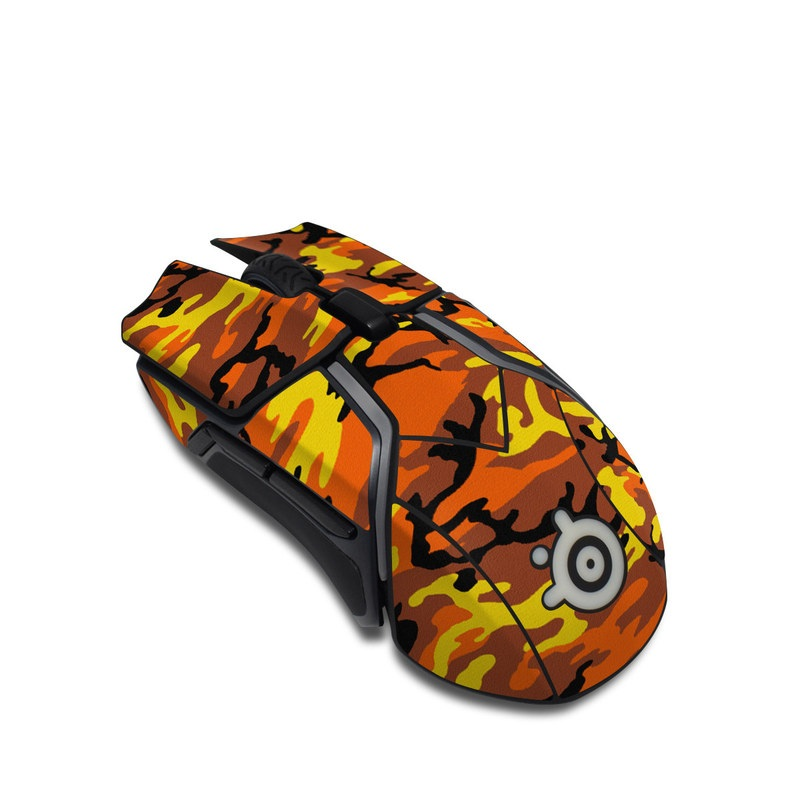 SteelSeries Rival 600 Gaming Mouse Skin design of Military camouflage, Orange, Pattern, Camouflage, Yellow, Brown, Uniform, Design, Tree, Wildlife with red, green, black colors