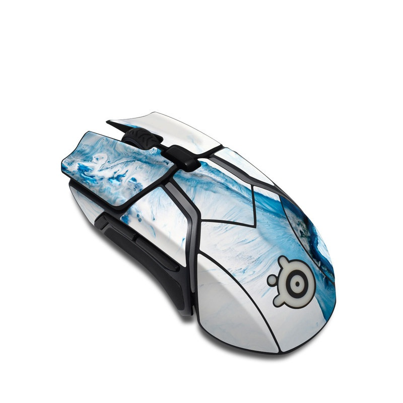 SteelSeries Rival 600 Gaming Mouse Skin design of Glacial landform, Blue, Water, Glacier, Sky, Arctic, Ice cap, Watercolor paint, Drawing, Art with white, blue, black colors