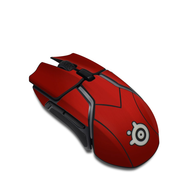 SteelSeries Rival 600 Gaming Mouse Skin design of Red, Maroon, Orange, Brown, Peach, Pattern, Magenta with red colors