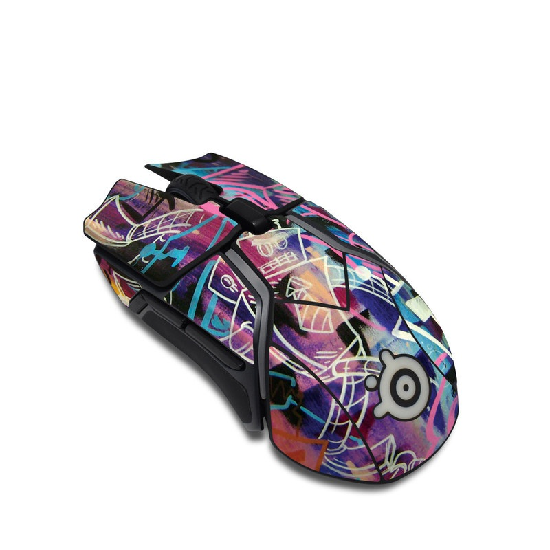 SteelSeries Rival 600 Gaming Mouse Skin design of Psychedelic art, Graffiti, Art, Graphic design, Modern art, Text, Font, Street art, Pattern, Design with black, gray, red, purple, green, blue colors