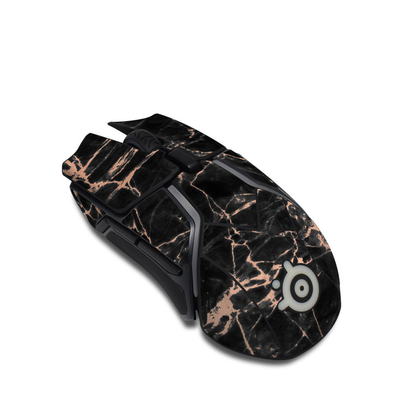 SteelSeries Rival 600 Gaming Mouse Skin design of Branch, Black, Twig, Tree, Brown, Sky, Atmosphere, Plant, Winter, Night with black, pink colors