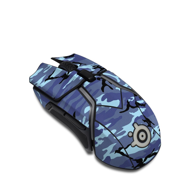 SteelSeries Rival 600 Gaming Mouse Skin design of Military camouflage, Pattern, Blue, Aqua, Teal, Design, Camouflage, Textile, Uniform with blue, black, gray, purple colors