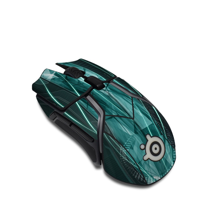 SteelSeries Rival 600 Gaming Mouse Skin design of Blue, Green, Aqua, Turquoise, Light, Teal, Line, Water, Pattern, Architecture with black, blue, gray colors