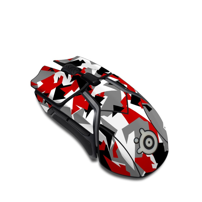 SteelSeries Rival 600 Gaming Mouse Skin design with red, white, black, gray colors
