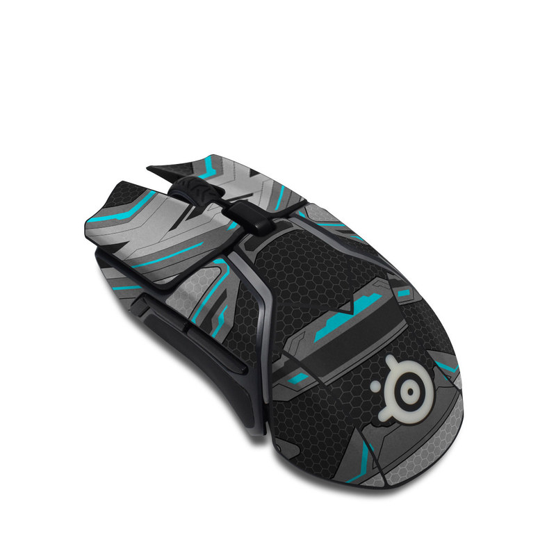 SteelSeries Rival 600 Gaming Mouse Skin design of Blue, Turquoise, Pattern, Teal, Symmetry, Design, Line, Automotive design, Font with black, gray, blue colors