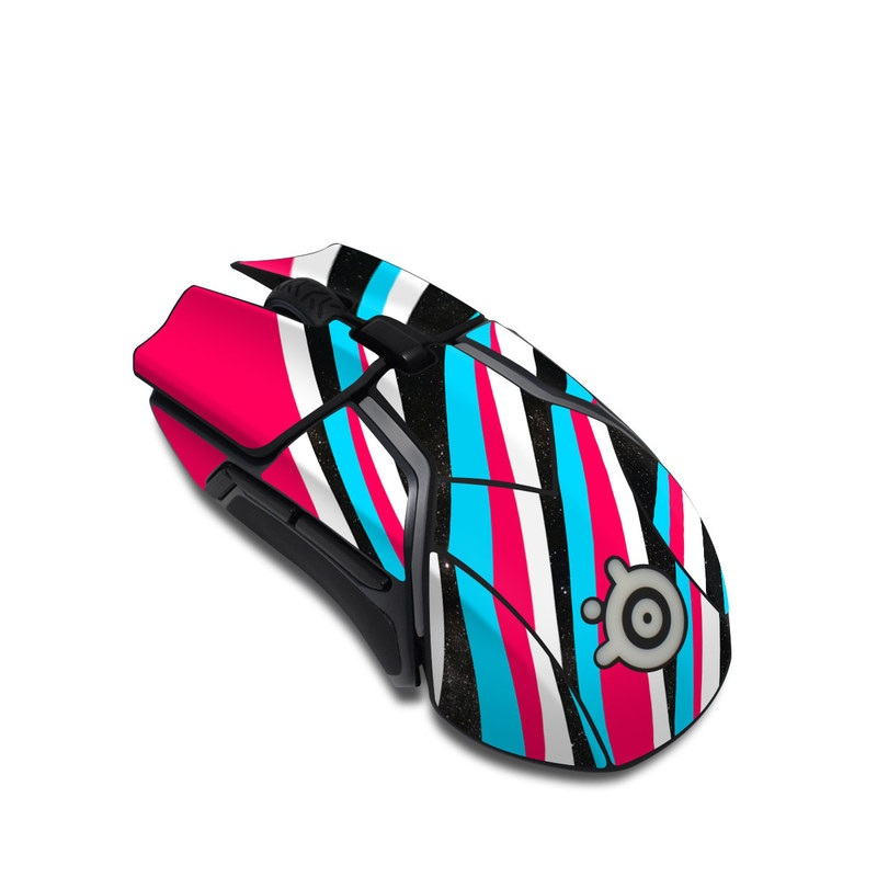 SteelSeries Rival 600 Gaming Mouse Skin design of Turquoise, Line, Pattern, Graphic design, Design, Colorfulness, Graphics with pink, black, white, blue colors