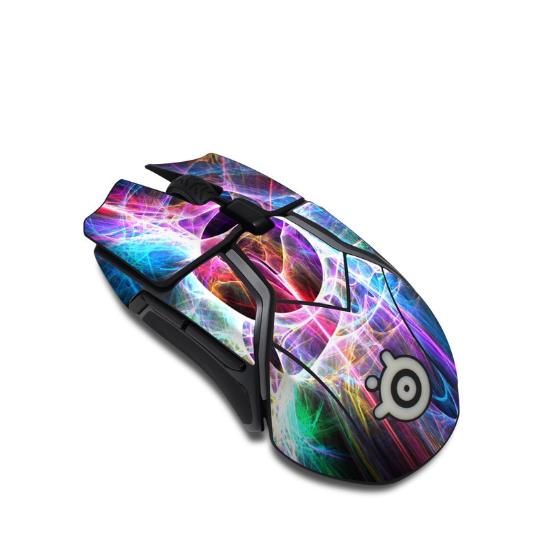 SteelSeries Rival 600 Gaming Mouse Skin design of Fractal art, Light, Pattern, Purple, Graphic design, Design, Colorfulness, Electric blue, Art, Neon with black, gray, blue, purple colors
