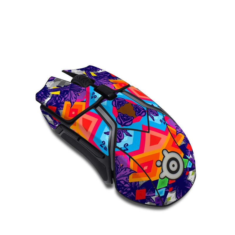 SteelSeries Rival 600 Gaming Mouse Skin design of Psychedelic art, Symmetry, Pattern, Purple, Fractal art, Kaleidoscope, Design, Art, Colorfulness, Visual arts with purple, red, orange, blue, gray, green colors