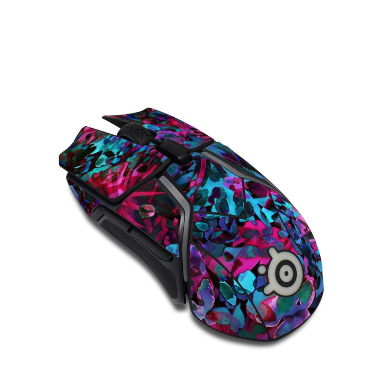 SteelSeries Rival 600 Gaming Mouse Skin design of Pink, Purple, Violet, Lilac, Flower, Leaf, Plant, Magenta, Botany, Pattern with black, pink, purple, blue, green colors