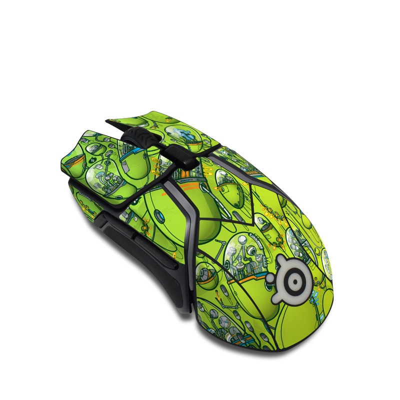 SteelSeries Rival 600 Gaming Mouse Skin design of Green, Pattern, Yellow, Design, Illustration, Plant, Art, Graphic design, Urban design with green, blue, gray, yellow, orange colors