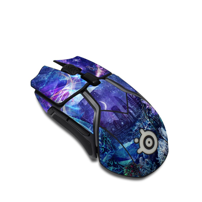 SteelSeries Rival 600 Gaming Mouse Skin design of Blue, Purple, Violet, Lavender, Majorelle blue, Psychedelic art, Electric blue, Organism, Art, Design with blue, green, purple, red, pink colors