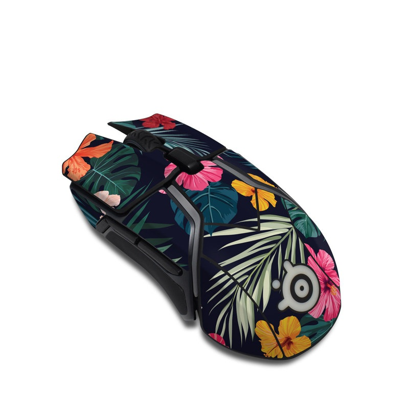 SteelSeries Rival 600 Gaming Mouse Skin design of Hawaiian hibiscus, Flower, Pattern, Plant, Leaf, Floral design, Botany, Design, Hibiscus, Petal with black, green, red, pink, orange, yellow, white colors