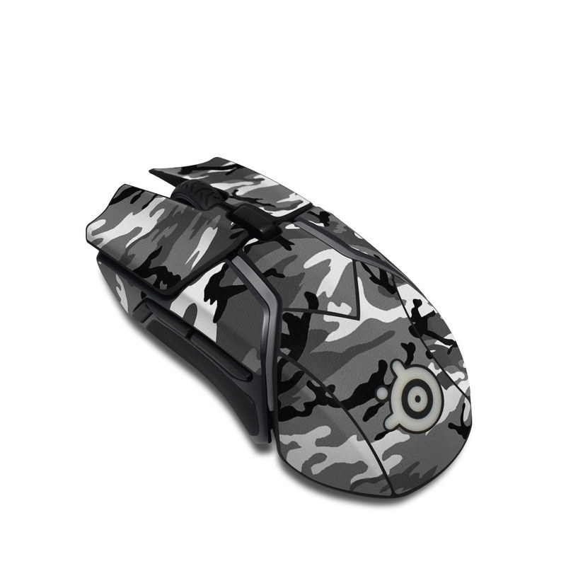SteelSeries Rival 600 Gaming Mouse Skin design of Military camouflage, Pattern, Clothing, Camouflage, Uniform, Design, Textile with black, gray colors