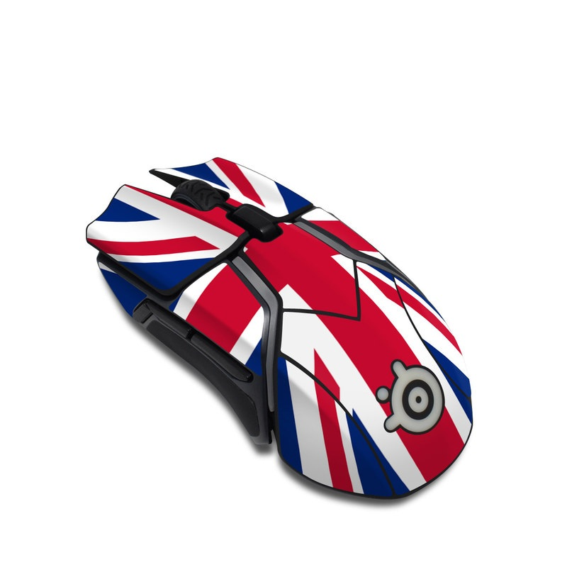 SteelSeries Rival 600 Gaming Mouse Skin design of Flag, Red, Line, Electric blue, Design, Font, Pattern, Parallel, Flag Day (USA) with red, white, blue colors
