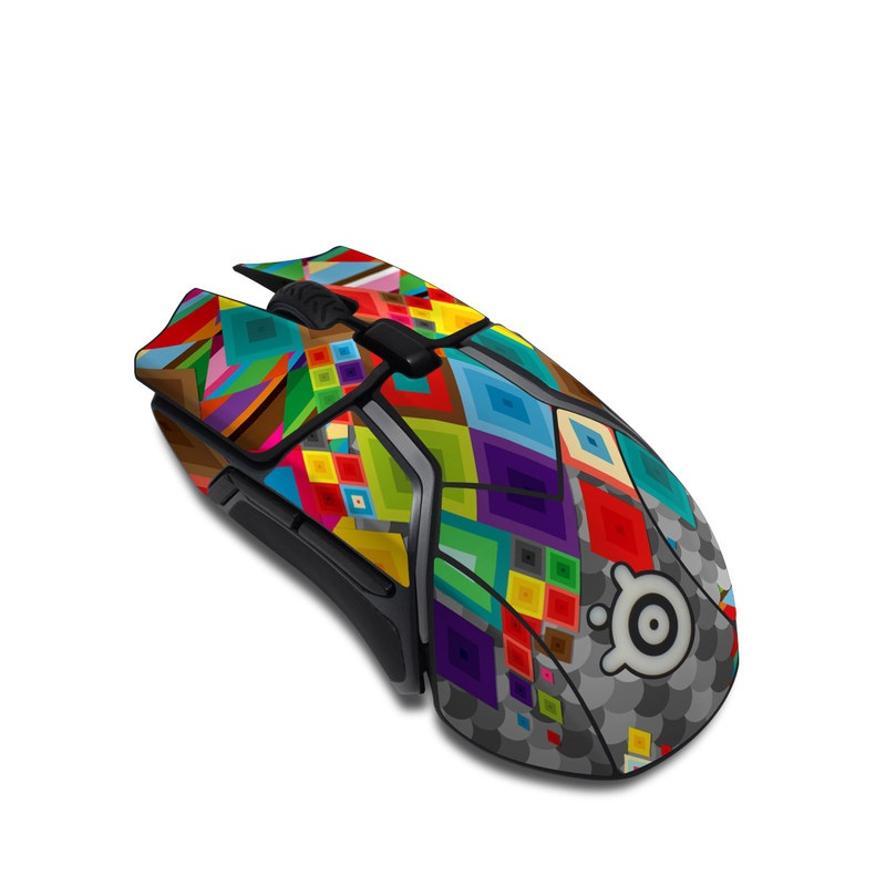 SteelSeries Rival 600 Gaming Mouse Skin design of Pattern, Colorfulness, Symmetry, Textile, Design, Visual arts, Square, Triangle, Art with gray, green, brown, red, purple, yellow colors